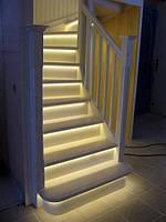 Подсветка лестниц, светодиодная подсветка ступеней плинтуса лестницы