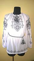 """Вишиванка жіноча  """"Талісман"""" на білому шифоні, блуза, машинна вишивка"""