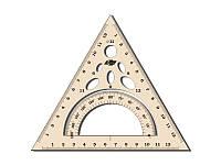 Трикутник пластмасовий 60/60/60 13см рівнобедрений з транспортиром УР-1д СПЕКТР димчастий