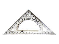 Трикутник пластмасовий 90/45/45 15см з транспортиром У-150 П СПЕКТР