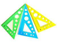 Трикутник пластмасовий 90/60/30 23см з транспортиром У-230ц кольоровий мікс СПЕКТР