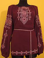 """Вишиванка жіноча  """"Талісман"""" на бордовому шифоні, блуза, машинна вишивка"""