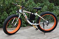 Электровелосипед LKS Fatbike Бело-оранжевый (Фэтбайк) Electro Rear Drive