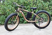 Электровелосипед LKS Fatbike Золотой с красным (Фэтбайк) Electro Rear Drive