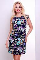 Короткое летнее платье темно-синее Сафари 42,44 размеры