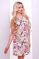 Короткое летнее платье бежевое Сафари 42-50 размеры