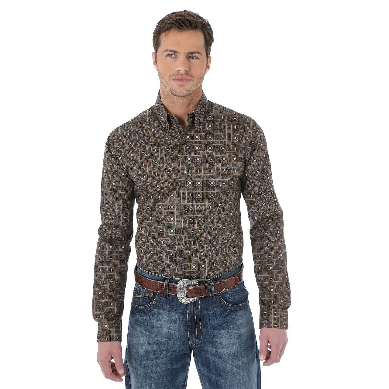 Рубашка Wrangler 20X, M, Tan/Blue, MJ2601M