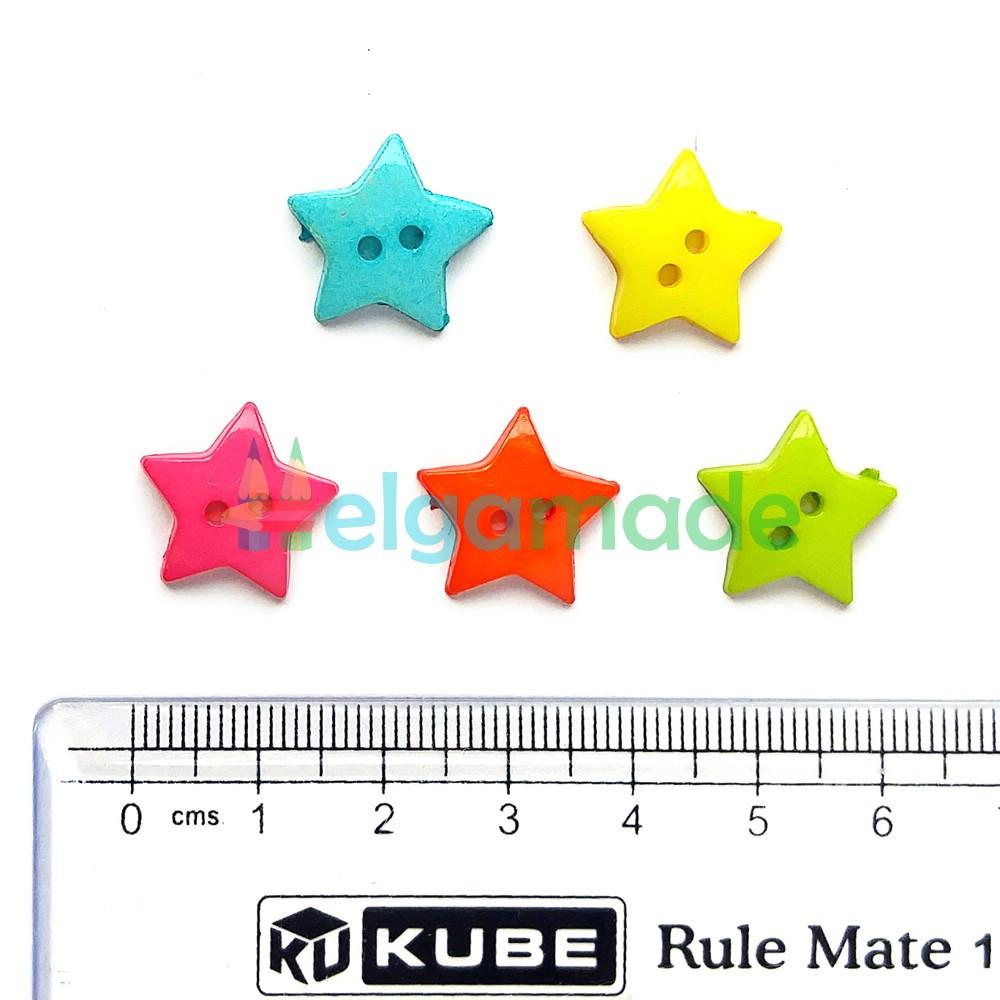 Пуговицы пластиковые ЗВЕЗДОЧКИ, 16 мм, 5 шт, микс