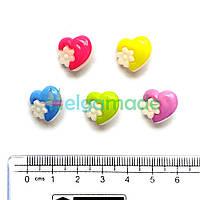 Пуговицы пластиковые СЕРДЦА С ЦВЕТКОМ, 14 мм, 5 шт, микс