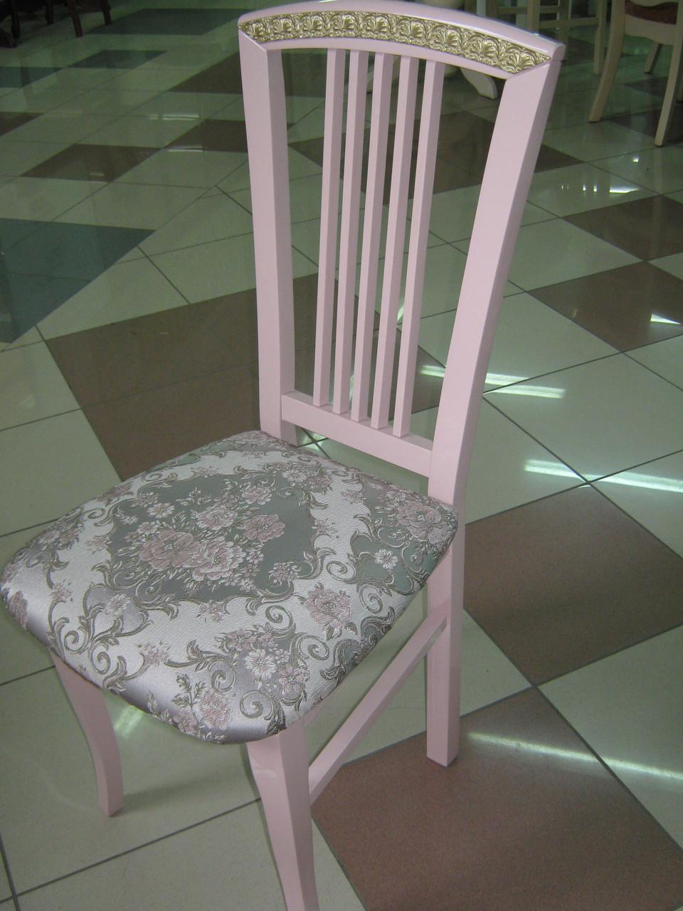 Стул ВЕСНЯНКА (розовый+золотая патина)
