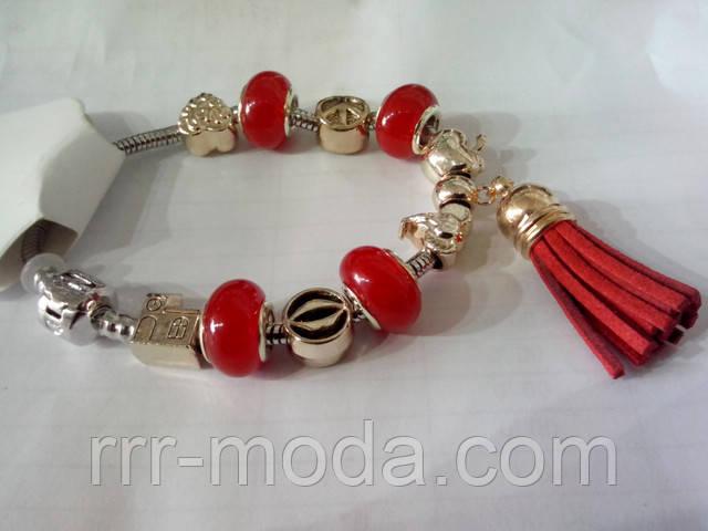 Красочные браслеты стиля Пандоры с кисточками. Молодежная бижутерия оптом RRR.