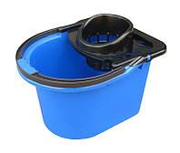 """Ведро пластиковое для уборки (под швабру) 12 литров с отжимом """"Горизонт"""" + Видеообзор, фото 1"""