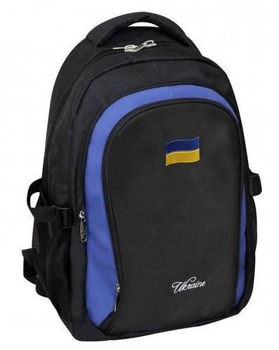 """Черный рюкзак для молодежи с вышивкой на фасаде CFS 17"""", """"National Flag"""" 820 CF85624 черный"""