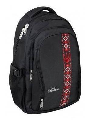 """Дизайнерский рюкзак для города и школы CFS 17"""", """"Vyshyvanka"""" 820 CF85622 черный"""