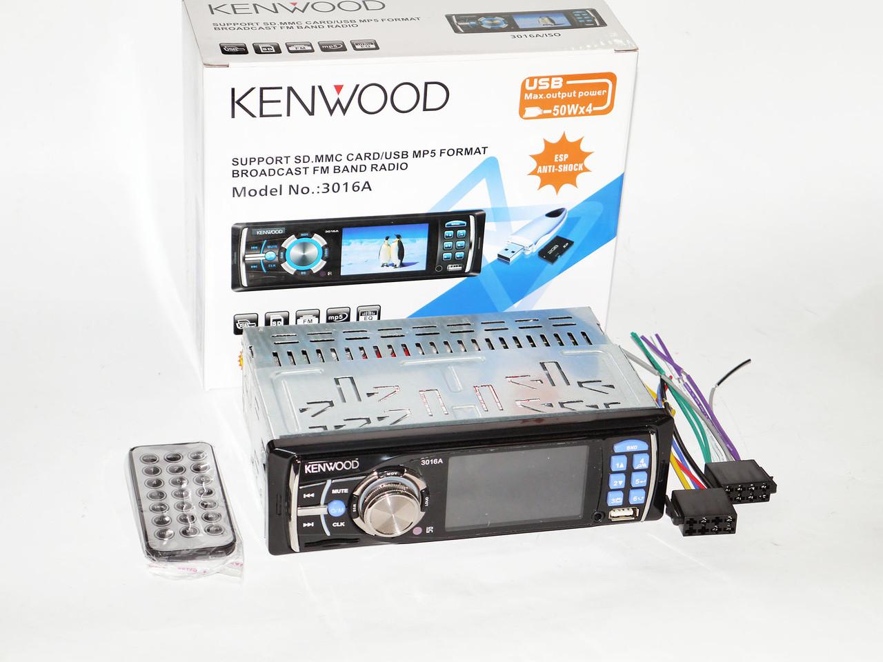 "Автомагнитола KENWOOD 3016 - 3"" Video экран -Divx/mp4/mp3 USB+SD"