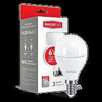 LED лампа MAXUS G45 6W мягкий свет 220V E14 (NEW)