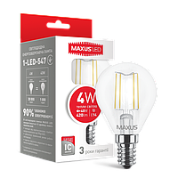 LED лампа MAXUS (филамент), G45, 4W, мягкий свет,E14 (NEW)