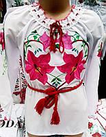Блуза вышитая  нарядная для девочки р.110-128