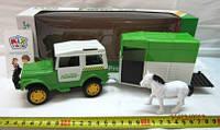 Машинка игрушечная инерционная с прицепом для перевозки животных, JC401