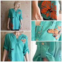 Рубашка женская  с цветочным принтом и бисером