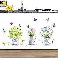 """Виниловая наклейка на стену """"Цветы и бабочки"""" кухня"""