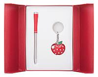 Набор подарочный ''Apple'': ручка шариковая + брелок, красный