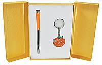 Набор подарочный ''Apple'': ручка шариковая + брелок, оранжевый
