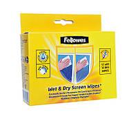 Салфетки для экранов Fellowes сухие и пропитанные f.99702