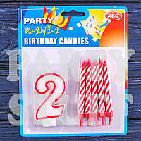 Набор свеча Цифра+10 свечей, 2