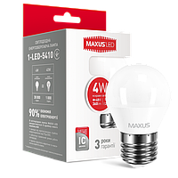 LED лампа MAXUS G45 F 4W яркий свет 220V E27 (NEW)