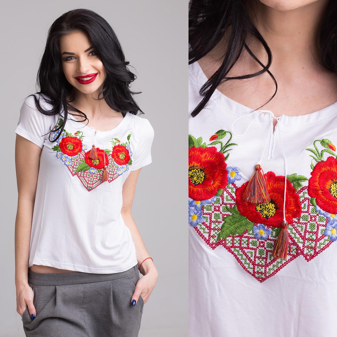 """Жіноча футболка з вишивкою """"Три мака"""" хрестиком і гладдю"""