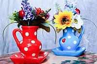 Вазочка Кувшинчик с искусственными цветами