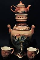 Чайный набор Орел (самовар, заварник, чашки),керамика