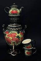Чайный набор с самоваром Рябина, керамика