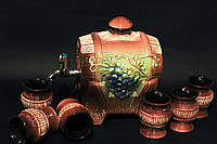 Набор для вина Виноград (бочка со стопками),керамика