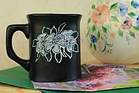 Чашка квадратная Цветок матовая, керамика
