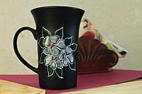 Чашка высокая Цветок матовая, керамика