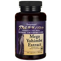 Экстракт йохимбе, для либидо, повышение потенции,  750 мг 120 капсул Swanson