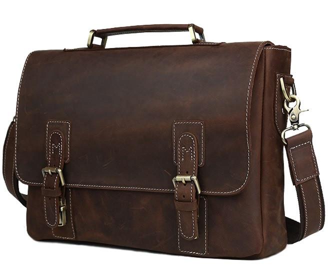 Кожаный мужской портфель TIDING BAG T8069 коричневый