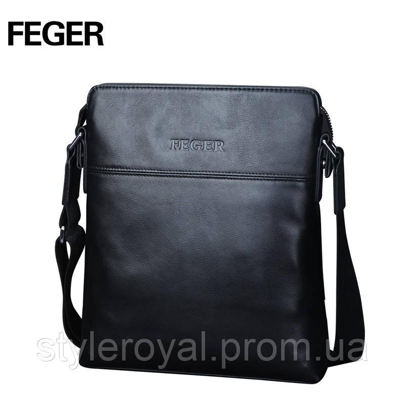 Черная кожаная сумка FEGER на плечо