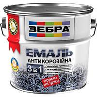"""Эмаль антикоррозионная """"3 в 1"""" ТМ «ЗЕБРА» 0,75 литра / Зеленый изумруд №36"""