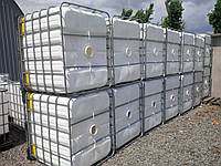 Еврокуб 1000 литров б/у белый (вымытый) на металлическом поддоне