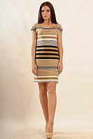 Легкое летнее платье с принтом в полоску | капучино (р.42-52)