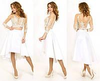 Свадебное платье-костюм из кружева и атласа P0660 (р.46)