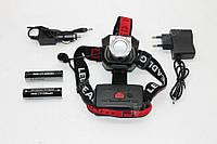 Аккумуляторный Налобный фонарик Police BL-T921-T6,  Диод CREE-T6,Диод 1СВД технологии COB, 2 акк. 18650