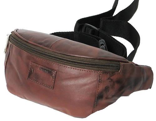 Качественная поясная сумка из кожи Always Wild 907-TT brown