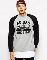 Свитшот мужской серый с черными рукавами спортивный Adidas Адидас