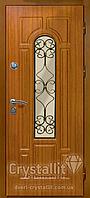 Двери входные металлические модель Арка со стеклом и ковкой серия Премиум