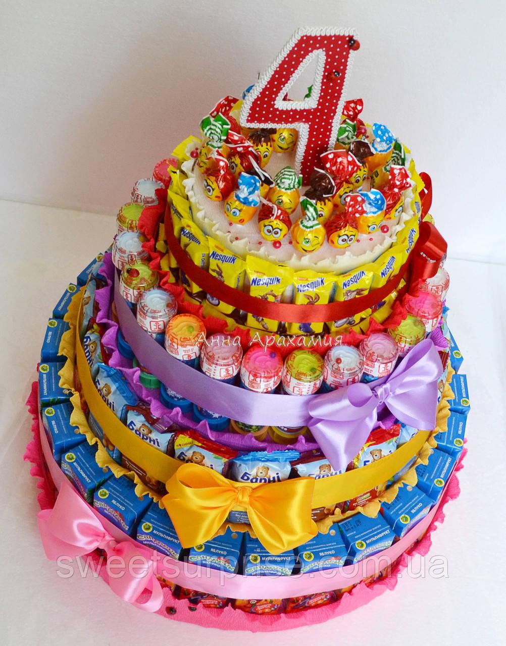 """Торт дитячий садок із соку і цукерок """"Барні"""" (для дівчинки)"""