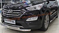 Защита переднего бампера труба двойная D60-42 на Hyundai Santa Fe 2013